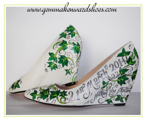 Hand Painted wedding shoes with Ivy
