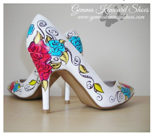 Red and blue tattoo roses hand painted shoes