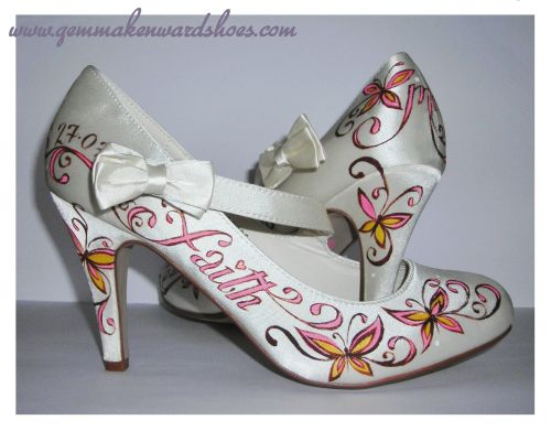 Hand Painted Wedding Shoes in pinks, orange and browns