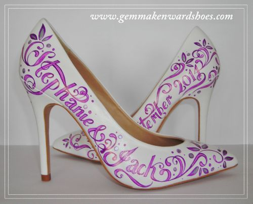 Hand Painted Purple and Silve Lettering Wedding Shoes