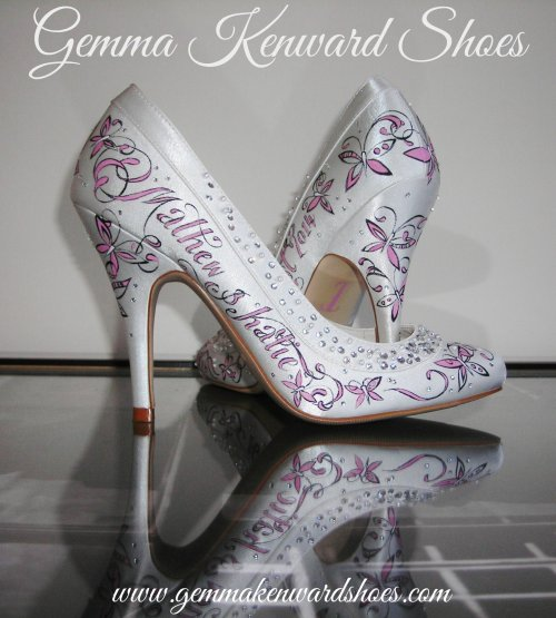 Pink Butterfly Hand Painted Personalised Wedding Shoes
