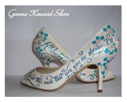 Kimberley's Hand Painted Wedding Shoes in Sapphire Blue