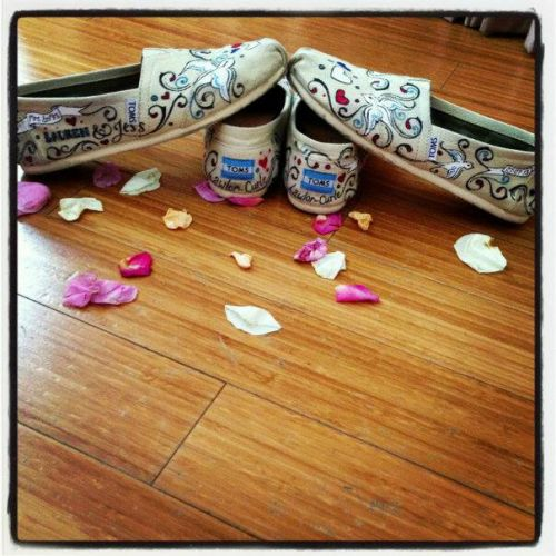 Hand Painted Bridal Toms for Two Brides