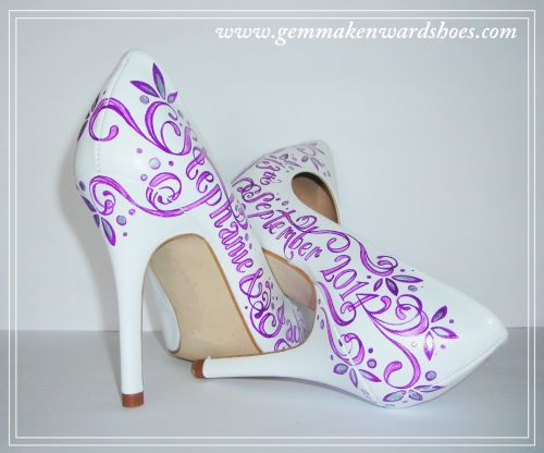 Hand Painted Wedding Shoes in Purple and Silver