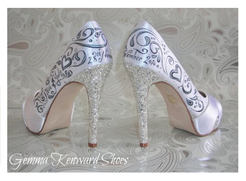 Diamantes on hand painted wedding shoes