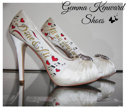 Custom hand painted wedding shoes in gold and red