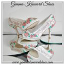 Peach roses hand painted customised wedding shoes