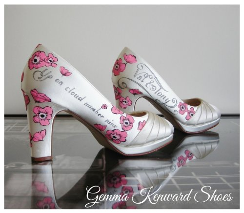 Pink poppies on a pair of hand painted wedding shoes