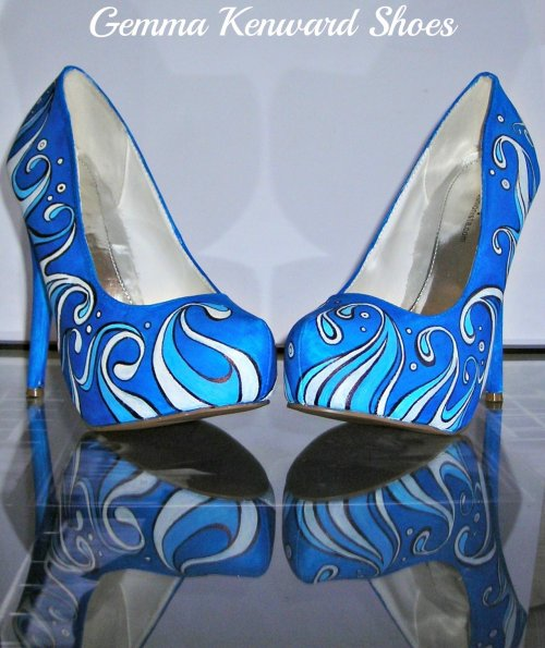 Blue waves hand painted wedding shoes.