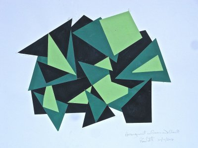 "Title:- ""PAINTED CUT-OUT GREEN & BLACK"" - Medium:- acrylic painted card cut-out collage - Size:- H46 x W60 cm - Price:- on application"