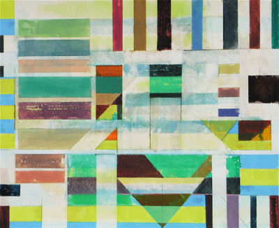 "Title:- 'COMPOSITION WITH GREEN TRIANGLE"" - 2012 - Medium:- watercolour - Image Size:- H49 x W58.70 cm - Price On Application"