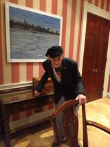 GEORGE W GILL with his oilpainting  'LOW TIDE'  @ BROCKET HALL