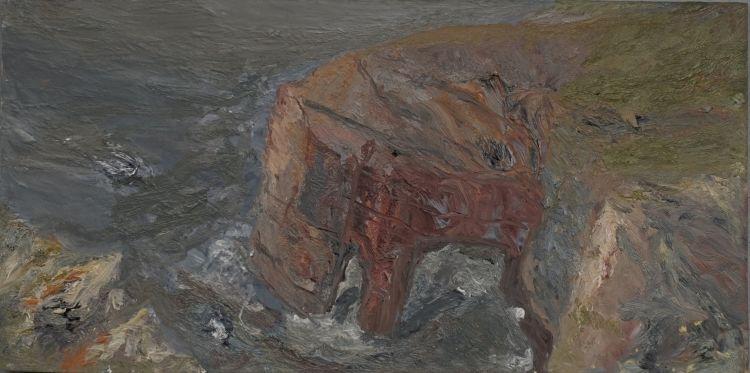 Castlemartin, Pembrokeshire,2014, oil on board, 20.5 x 41 cm
