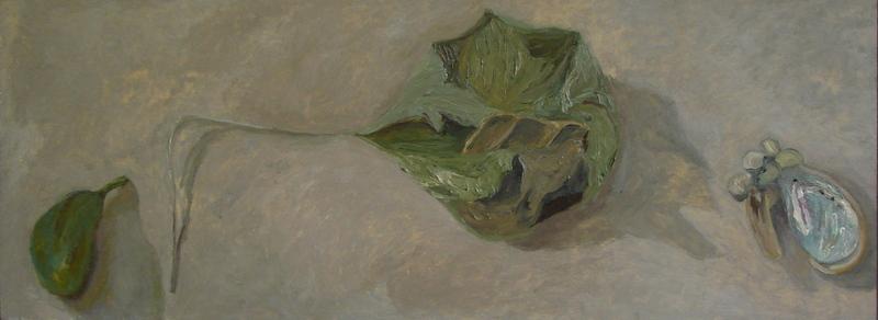Still Life 11.18, oil on board, 305 x 812 mm