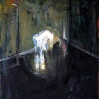 greyhound in interior, 52x44x2cm, oil on canvas, 2013