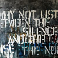 listen, 101x153x1.6cm, mixed media on canvas, 2014