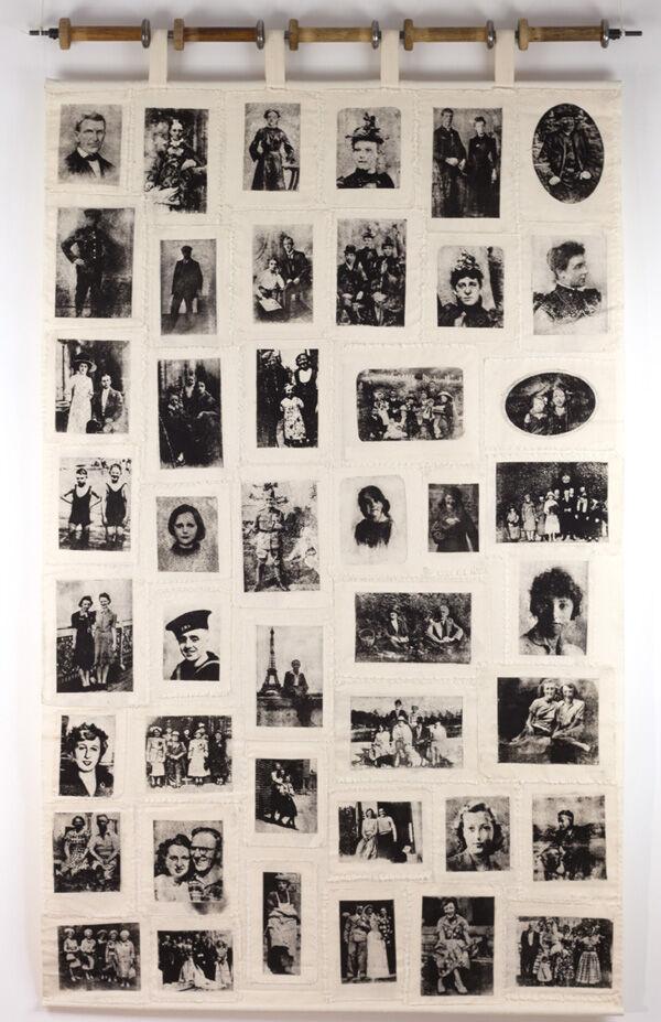 'Meet the Ancestors', wall-hanging. Gum-arabic prints on cotton calico.