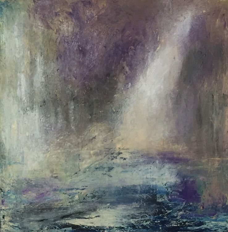 This mystical abstract painting by Ghislaine Beeson is in shades of blue, purple and grey.