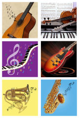 6 Assorted Music Cards