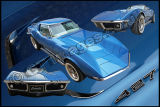 Corvette 427 Triple Blue Poster
