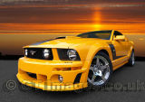 Orange Roush Mustang At Sunset