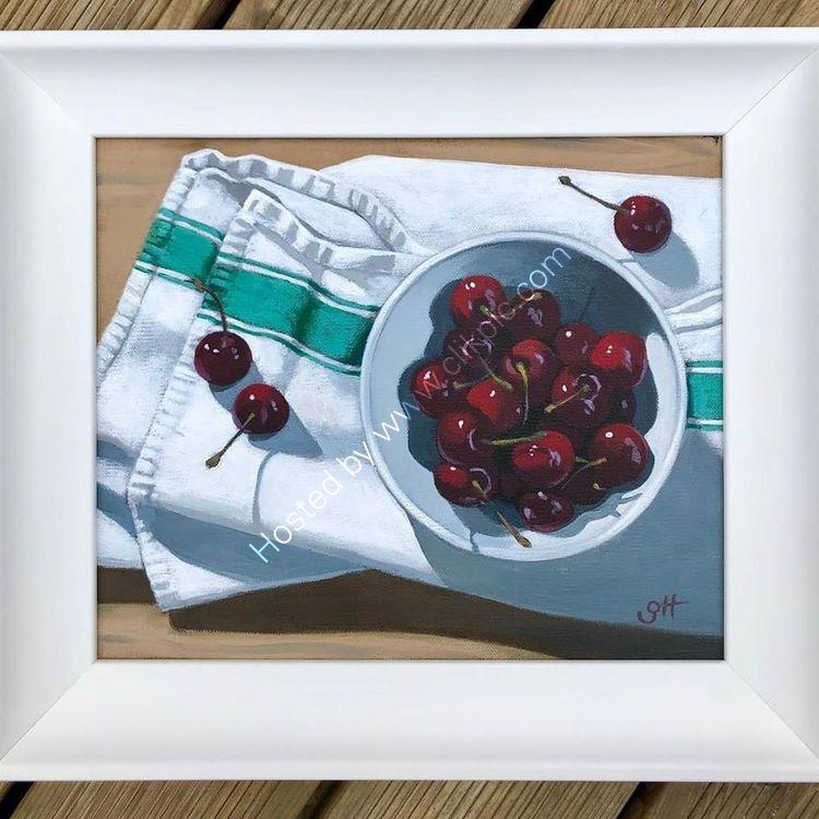 Cherries on Tea Cloth SOLD