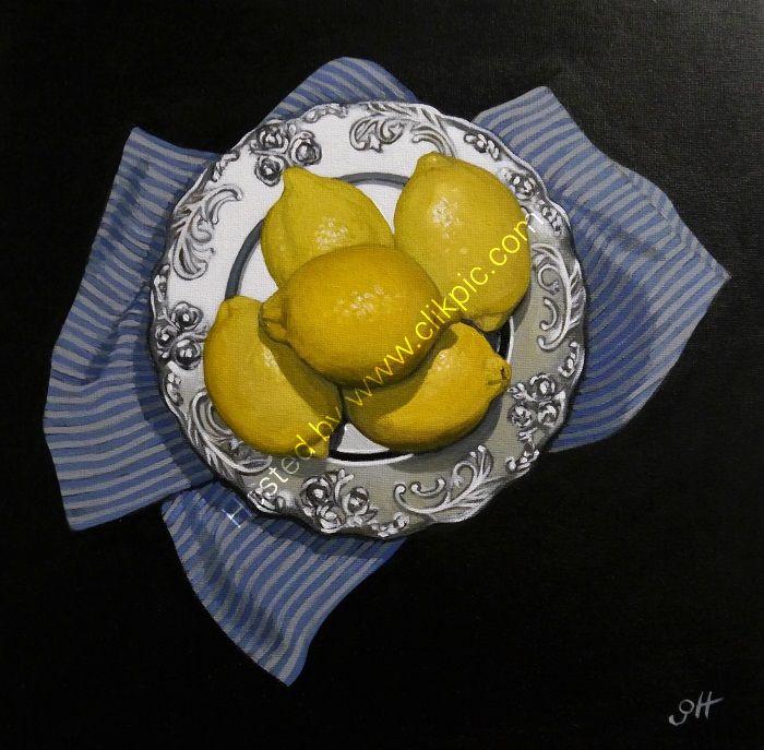 Lemons on Silver Plate