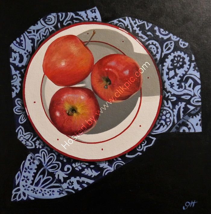 Apples with Patterned Napkin