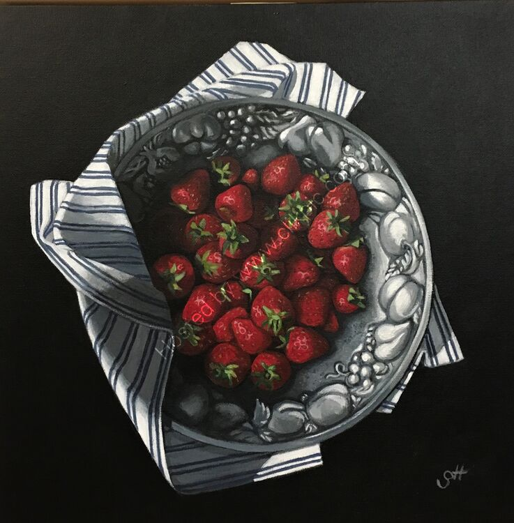 Strawberries in Pewter Dish