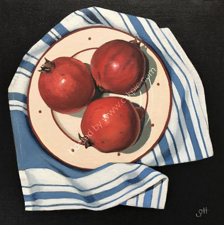 Pomegranates on Teacloth (SOLD)