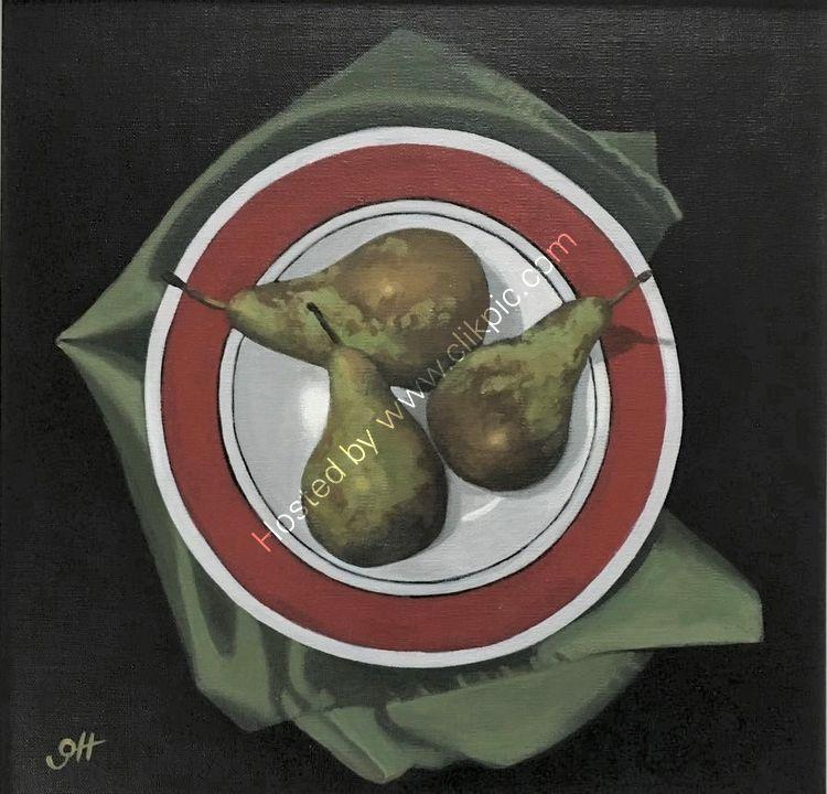 Three Pears on Green Napkin