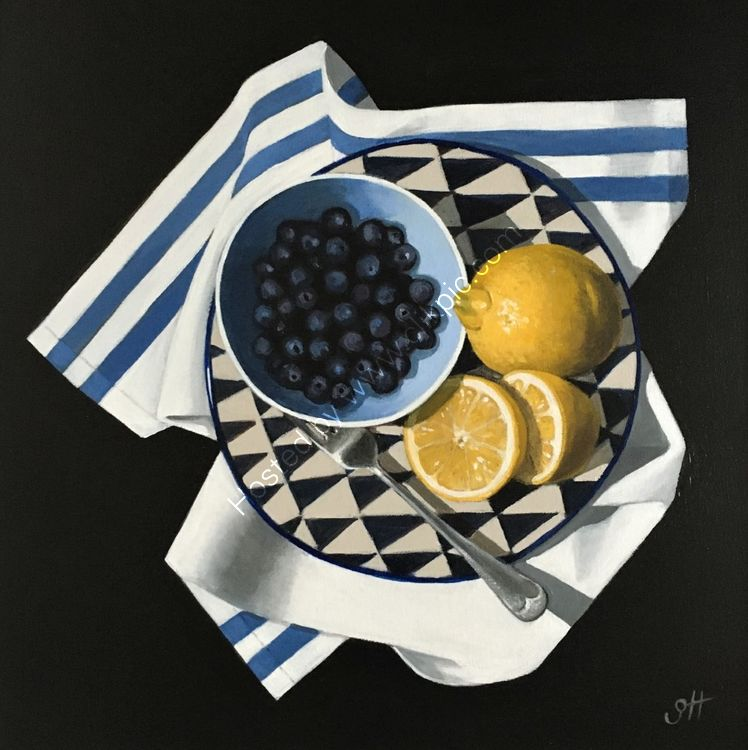 Blueberries and Lemons with Fork
