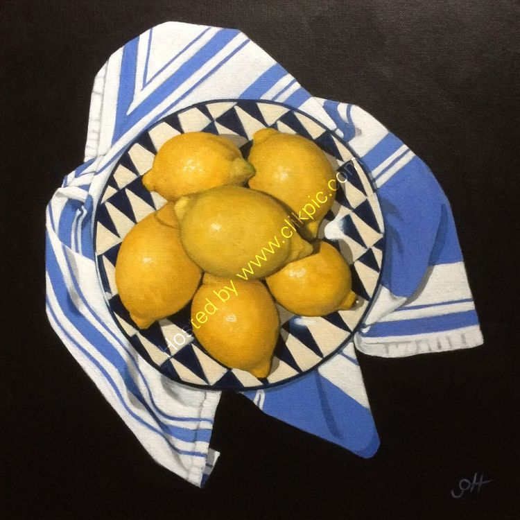 Lemons on Striped Cloth