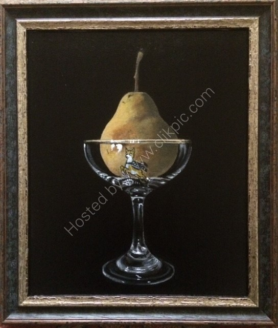 Pear in Babycham Glass