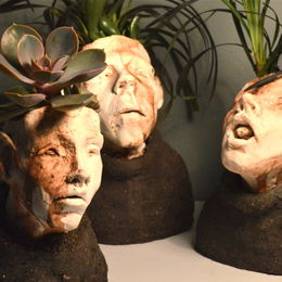 Small Ceramic head planters