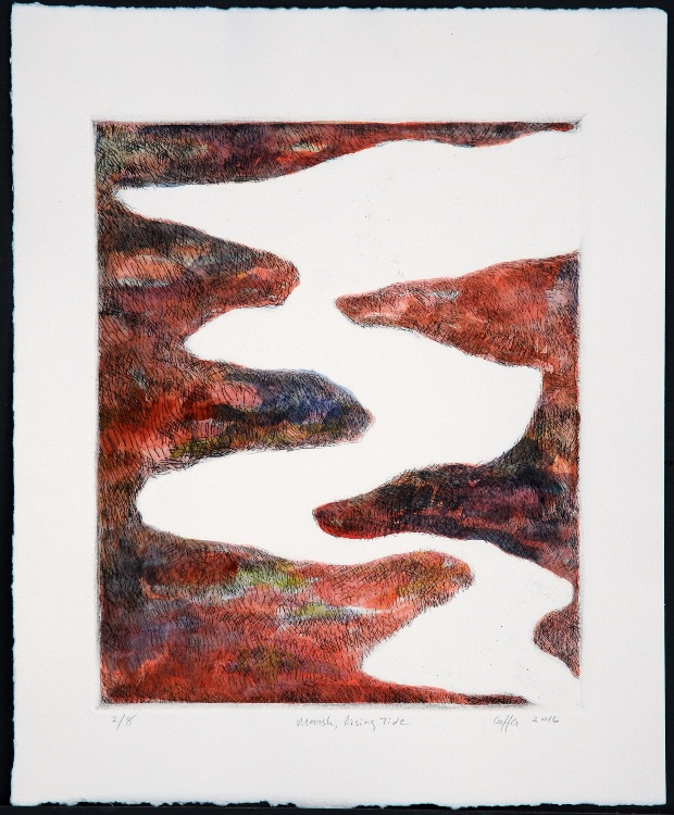 Marsh Rising Tide, drypoint, 24 x 20 cms, 20016, edition of 8
