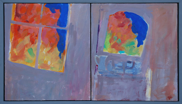 Autumn Bedroom, Acrylic on two box panels, 33 x 58 cms, 2017
