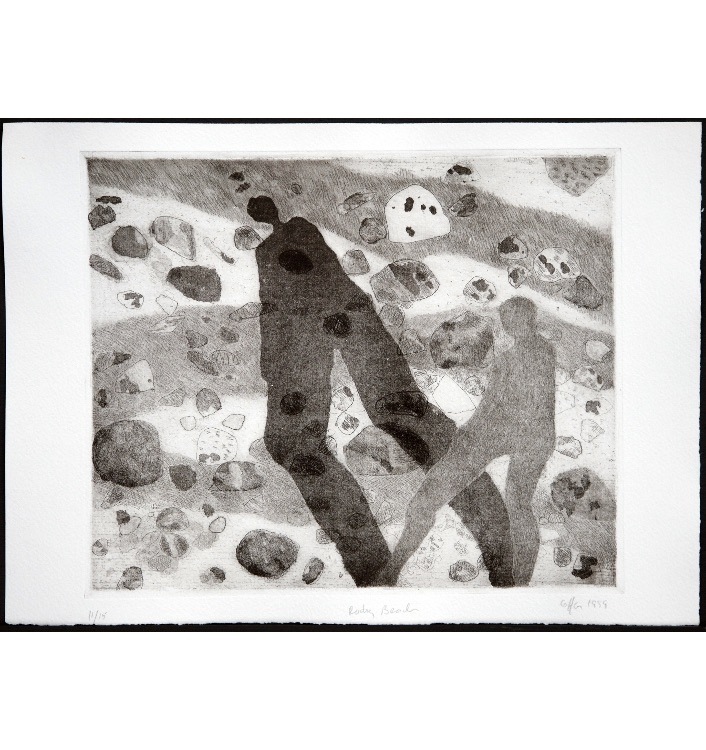 Stony Beach, etching, 29 x 24 cms, edition of 15, 1999