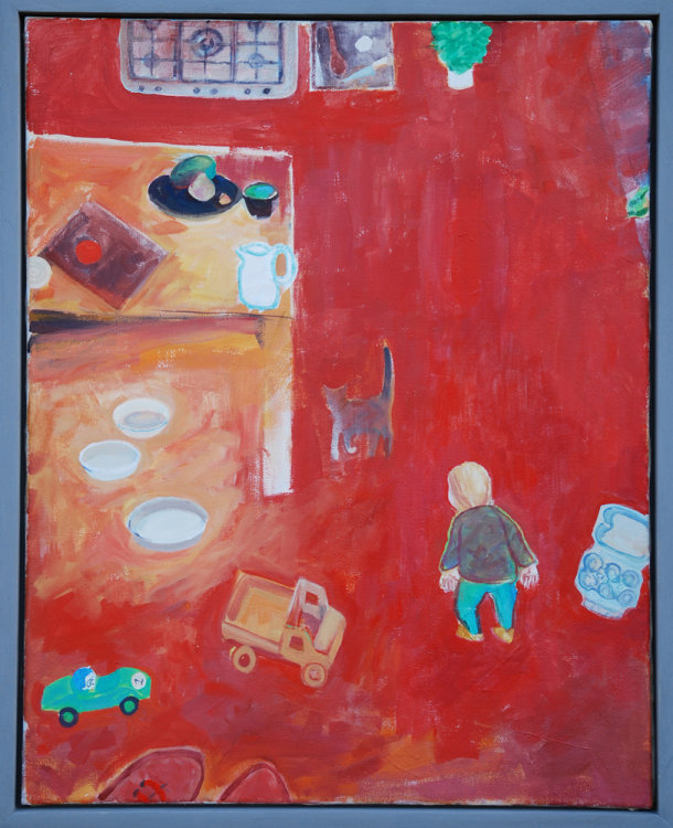 Red Kitchen, Acrylic on canvas, 76 x61 cms, 2017