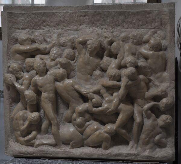 Centauromachia - finto marmo, trattamento con velature.