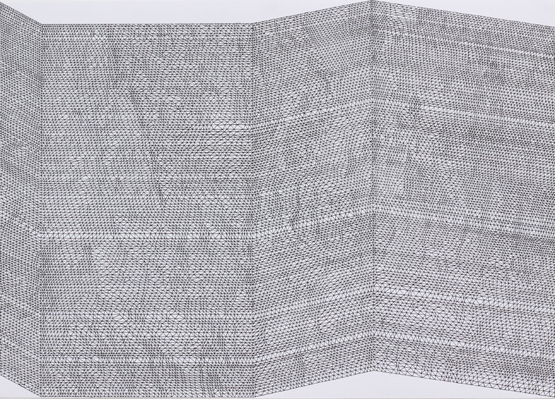 Parallel/Bend	no.12,	2014,	hand-made	drawing,	Indian	ink	lightfast	pen	on	paper,	50x70cm