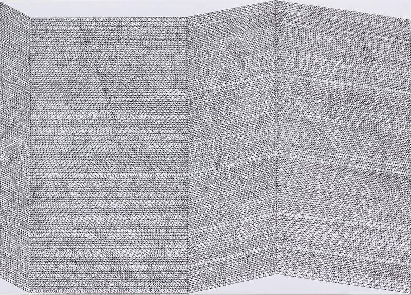 Parallel/Bendno.12,2014,hand-madedrawing,Indianinklightfastpenonpaper,50x70cm