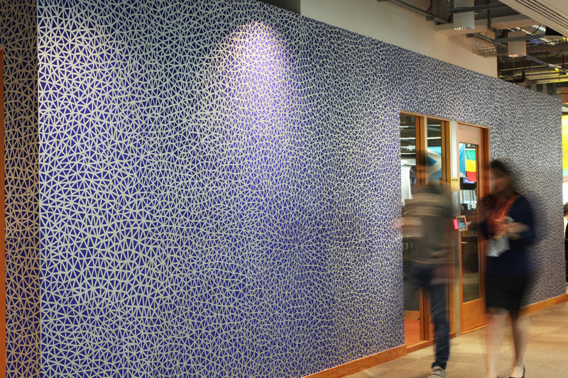 All Connected, 2016. Acrylic paint marker on painted wall, 28 square metres of hand made drawing. Commissioned by the Facebook Air Program for the Facebook London Office (Brock Street)