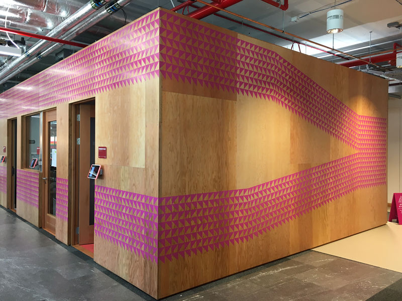Sugar Coated, 2017. Acrylic marker pens on board, 2.7x20m. Commissioned by the Facebook Air Program for Facebook London Office (1 Rathbone Place)