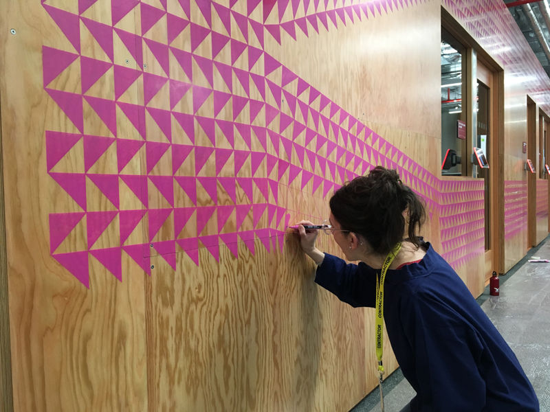 Sugar Coated, 2017. Acrylic marker pens on board, 2.7x20m. Commissioned by the Facebook Air Program for Facebook London Office (1 Rathbone Place). In progress
