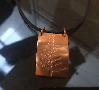 Copper leaf design pendant