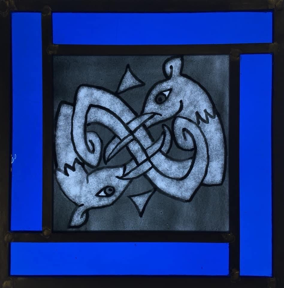 Pictish Dragon Stained Glass Panel