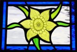 Daffodil Stained Glass Door Panel