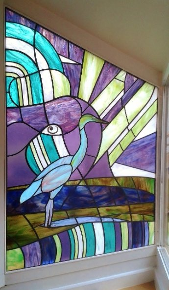 Heron Stained Glass Window, Middle Woodford, Salisbury