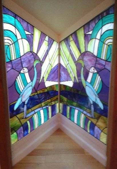 Heron Stained Glass Windows